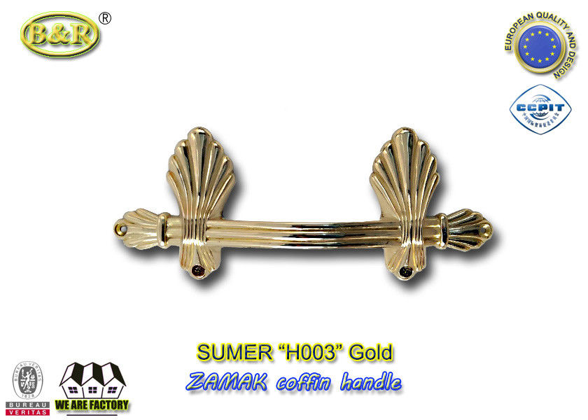 European style zamak metal casket handle fitting H003 size 22.5*10.5cm color gold zinc alloy handle